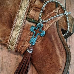 Nwt Handcrafted Western Cross Necklace W/Fringe